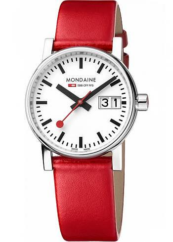 MSE.30210.LC, Mondaine, EVO2 Big Date 30mm, White Dial, Red Leather Strap