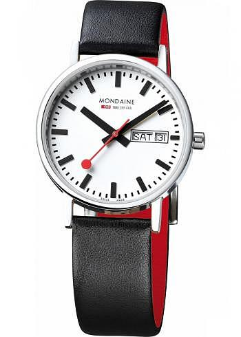 A667.30314.11SBB, Mondaine, Classic 36mm, White Dial, Black Leather Strap