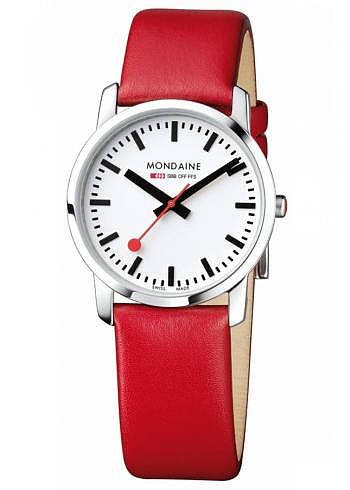 A400.30351.16SBC, Mondaine, Simply Elegant 36mm, White Dial, Red Leather Strap