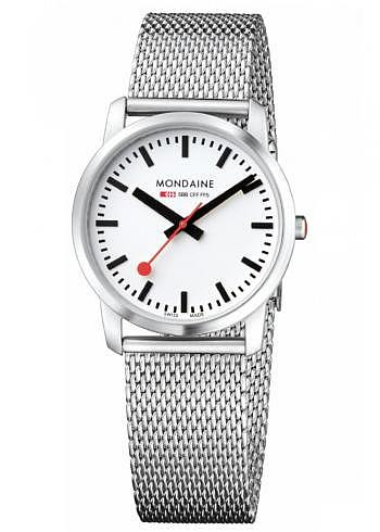 A400.30351.16SBM, Mondaine, Simply Elegant 36mm, Weisses Zifferblatt, Stahlband