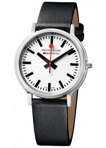 MST.4101B.LB, Mondaine, stop2go, 41mm, BackLight, White Dial, Black Leather Strap