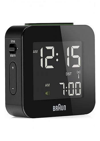 BNC008, Braun, Digital Alarm Clock with Radio Control, Black