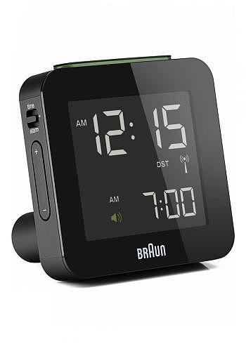 BNC009, Braun, Digital Alarm Clock with Radio Control, Black