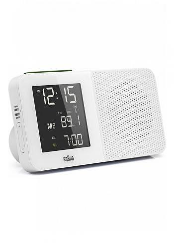 BNC010, Braun, Digital Alarm Clock with Radio Control and FM Radio, White