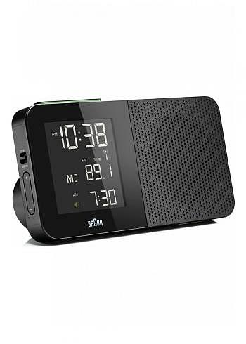 BNC010, Braun, Digital Alarm Clock with Radio Control and FM Radio, Black