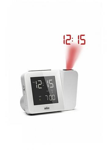 BNC015, Braun, Digital Alarm Clock with Radio Control and Projection, White