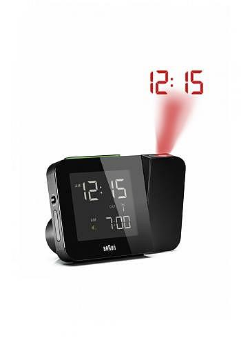 BNC015, Braun, Digital Alarm Clock with Radio Control and Projection, Black