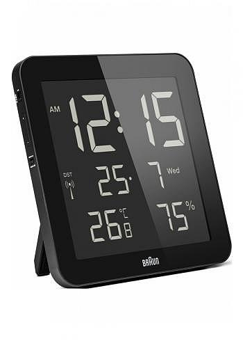 BNC014, Braun, Digital Wall Clock with Radio Control, Black