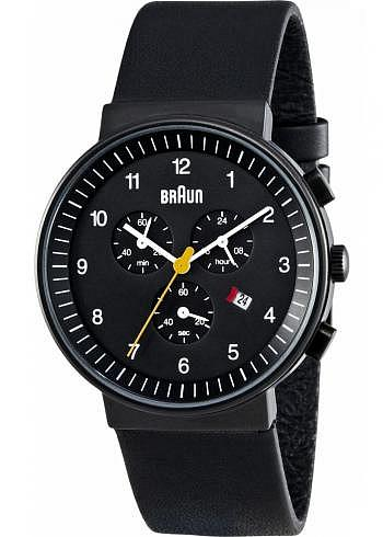 BN0035, Braun, Classic Chrono PVD 40mm, Black Dial, Leather Strap