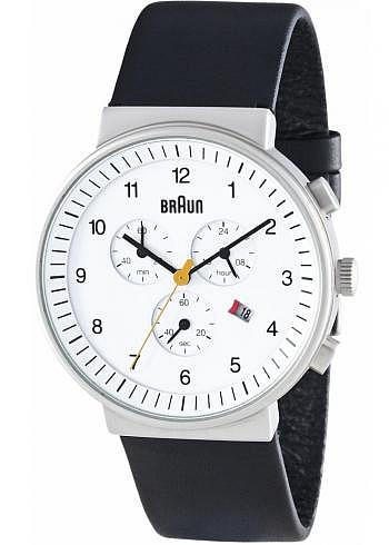 BN0035, Braun, Classic Chrono 40mm, White Dial, Leather Strap
