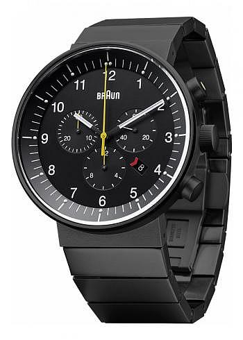 BN0095, Braun, Prestige Chrono PVD 43mm, Black Dial, Stainless Steel Bracelet