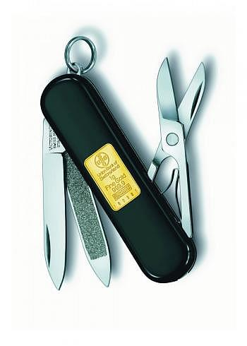 0.6203.87, Victorinox, Classic with 1gr. Gold, 58mm, Black