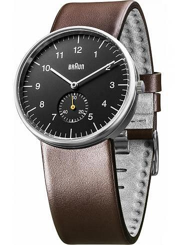 BN0024, Braun, Classic 38mm, Black Dial, Leather Strap Brown