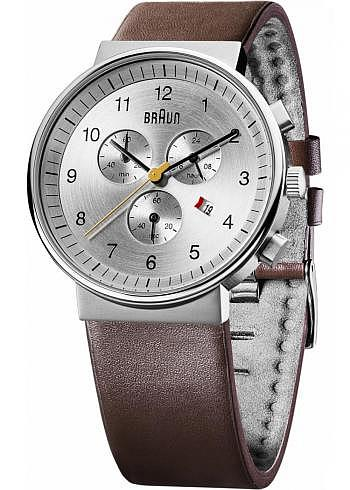 BN0035, Braun, Classic Chrono 40mm, Silver Dial, Leather Strap Brown