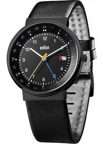 BN0142, Braun, Classic PVD 40mm, GMT, Black Dial, Leather Strap Black