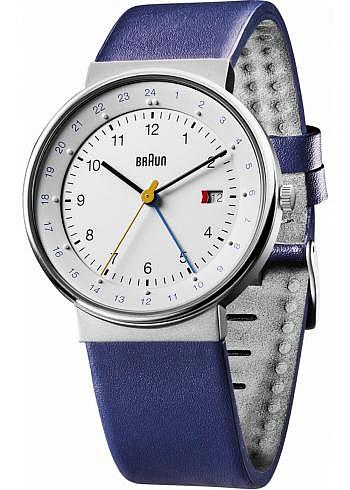 BN0142, Braun, Classic 40mm, GMT, White Dial, Leather Strap Blue