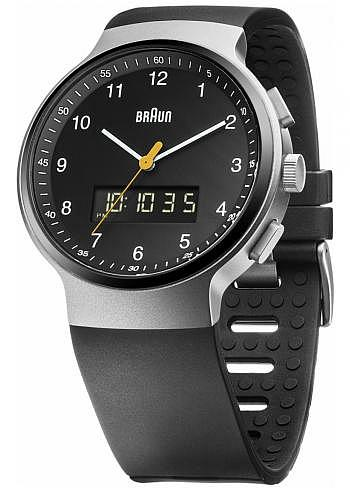BN0159, Braun, Classic 44mm, Chrono-GMT-Alarm, Black Dial, Rubber Strap