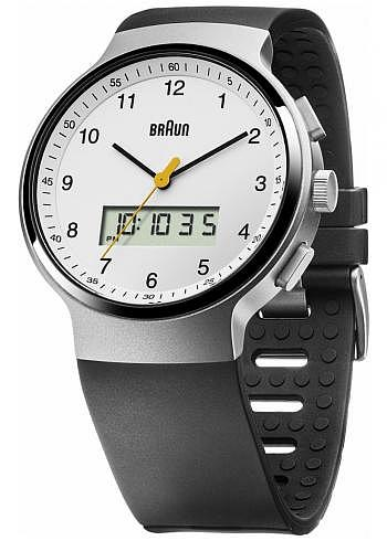 BN0159, Braun, Classic 44mm, Chrono-GMT-Alarm, White Dial, Rubber Strap