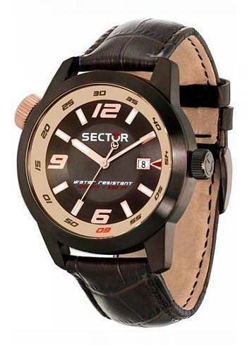 R3251102019, Sector, Oversize 48mm, PVD, Black Dial, Leather Strap