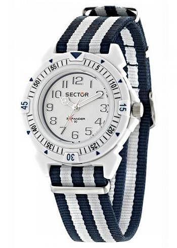 R3251197023, Sector, Expander, White Dial, Textile Strap