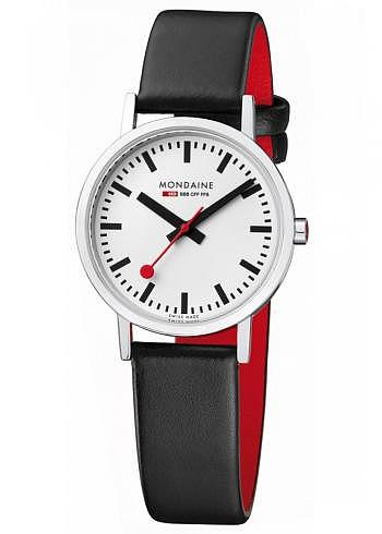 A658.30323.11SBB, Mondaine, Classic 30mm, White Dial, Black Leather Strap