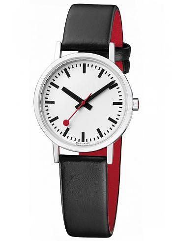 A658.30323.16OM, Mondaine, Classic Pure 30mm, White Dial, Black Leather Strap