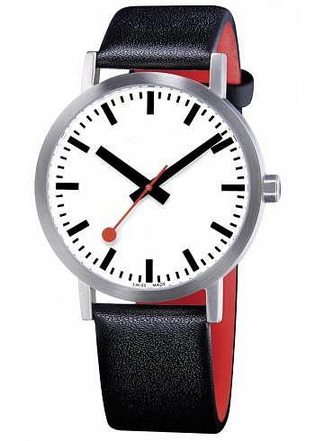 A660.30360.16OM, Mondaine, Classic Pure 40mm, White Dial, Black Leather Strap