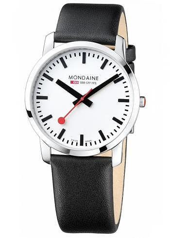 A638.30350.11SBB, Mondaine, Simply Elegant 41mm, White Dial, Black Leather Strap