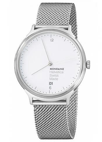 MH1.L2210.LM, Mondaine, Helvetica No1 Light 38mm, White Dial, Stainless Steel Bracelet