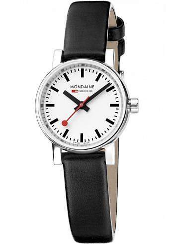 MSE.26110.LB, Mondaine, EVO2 Petite 26mm, White Dial, Black Leather Strap