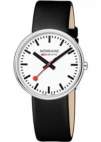 A763.30362.11SBB, Mondaine, Mini Giant 35mm, White Dial, Black Leather Strap