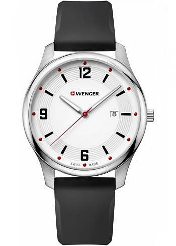 01.1441.108, Wenger, City Active 43mm, White Dial, Silicone Strap