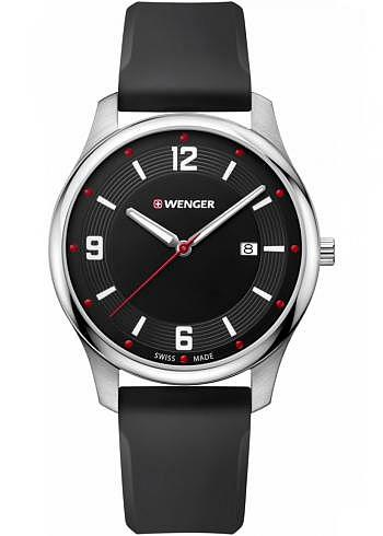 01.1441.109, Wenger, City Active 43mm, Black Dial, Silicone Strap