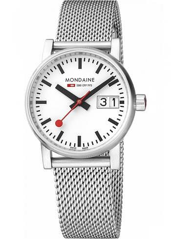 MSE.30210.SM, Mondaine, EVO2 Big Date 30mm, White Dial, Stainless Steel Bracelet