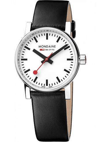 MSE.30110.LB, Mondaine, EVO2 30mm, White Dial, Black Leather Strap