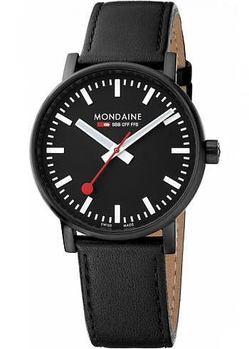 MSE.40121.LB, Mondaine, EVO2 Big 40mm, PVD, Black Dial, Black Leather Strap