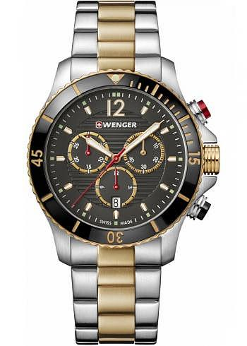 01.0643.113, Wenger, Seaforce Chrono 43mm, Black Dial, Stainless Steel Bracelet