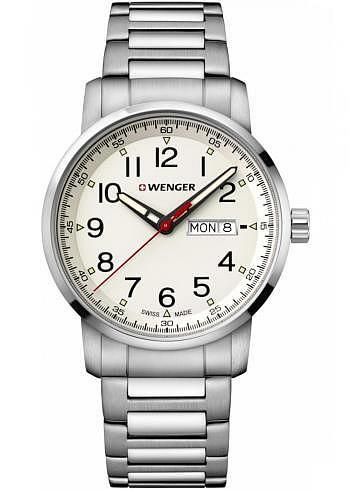 01.1541.108, Wenger, Attitude Heritage 42mm, Sandwhite Dial, Stainless Steel Bracelet