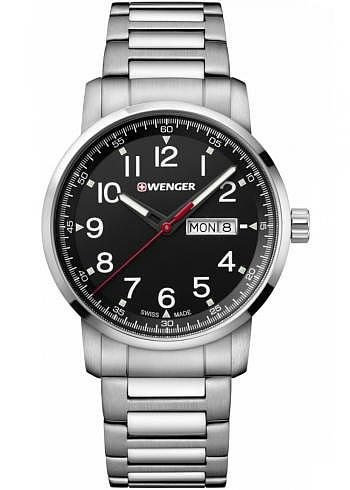 01.1541.107, Wenger, Attitude Heritage 42mm, Black Dial, Stainless Steel Bracelet