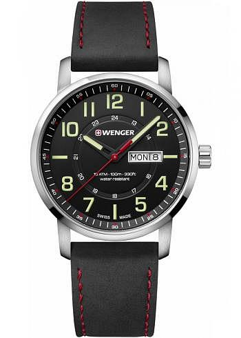01.1541.101, Wenger, Attitude 42mm, Black Dial, Leather Strap