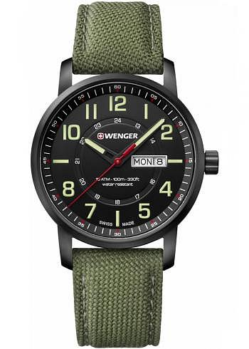 01.1541.104, Wenger, Attitude 42mm, PVD, Black Dial, Fabric Strap
