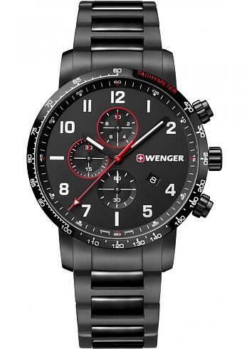 01.1543.125, Wenger, Attitude Chrono 125th 44mm, PVD, Black Dial, Stainless Steel Bracelet