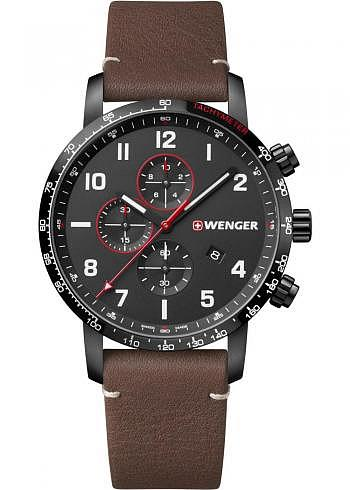 01.1543.107, Wenger, Attitude Chrono 44mm, PVD, Black Dial, Leather Strap