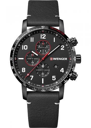 01.1543.106, Wenger, Attitude Chrono 44mm, PVD, Black Dial, Leather Strap
