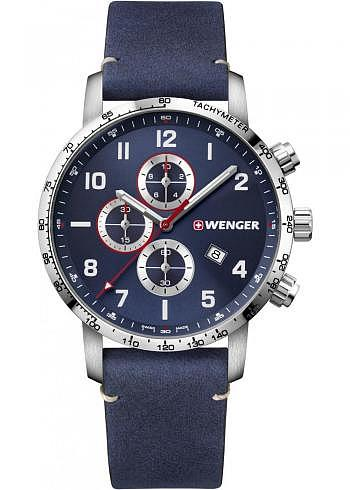01.1543.109, Wenger, Attitude Chrono 44mm, Blue Dial, Leather Strap