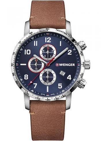 01.1543.108, Wenger, Attitude Chrono 44mm, Blue Dial, Leather Strap