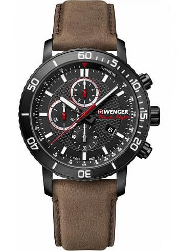 01.1843.107, Wenger, Roadster Black Night Chrono, 45mm, PVD, Black Dial, Leather Strap