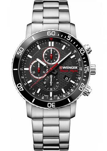01.1843.106, Wenger, Roadster Black Night Chrono, 45mm, Black Dial, Stainless Steel Bracelet