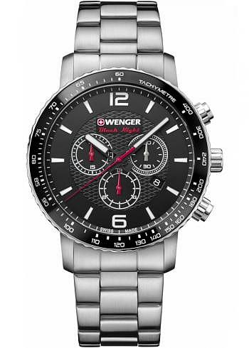 01.1843.103, Wenger, Roadster Black Night Chrono, 45mm, Black Dial, Stainless Steel Bracelet