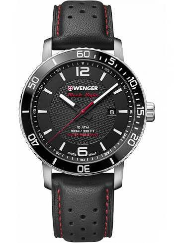 01.1841.101, Wenger, Roadster Black Night, 45mm, Black Dial, Leather Strap
